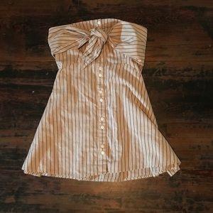 FREE PEOPLE Strapless Striped Shirt Dress